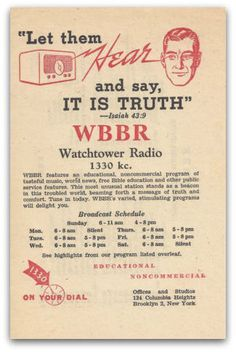 PASTOR CHARLES TAZE RUSSELL & THE WATCH TOWER SOCIETY.: A Radio Pioneer (WBBR 1924 - 1957)