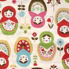 Japanese Fabric Kokka Matroyshka Doll Fabric