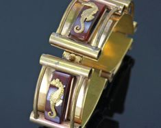 French Deco Seahorse Bracelet - Bakelite and Brass - Made in France - 1930