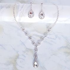 """The Sigourney"" Silver & Crystal Drop Jewelry Set"