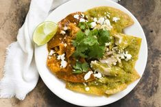 chilaquiles rojos and verde ancho tomatillo salsa - Source: Homesick Texan - I am afraid this one will have to wait until I can get my hands on some corn tortillas = sad Tomitillo Recipes, Spicy Recipes, Mexican Food Recipes, Healthy Recipes, Ethnic Recipes, Brunch Recipes, Summer Recipes, Tomatillo Salsa Recipe, Breakfast Desayunos