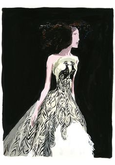 gown by Alexander McQueen, illustration by Jean-Philippe Delhomme