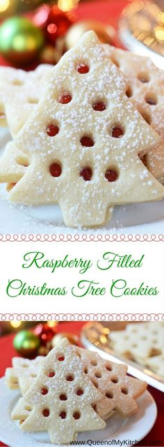 Skip the mess involved in decorating Christmas cookies with icing. These Raspberry Filled Christmas Tree cookies are just as beautiful as iced Christmas cookies but require less time and skill and don't make nearly the mess. | QueenofMyKitchen.com