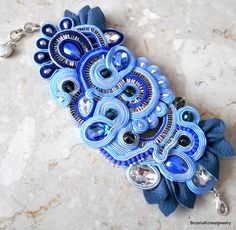 Soutache bracelet in blue by BozenaKorwatJewelry on Etsy