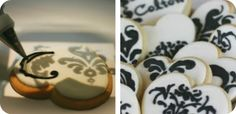 Using a projector to paint a damask pattern on sugar cookies.  Smart!