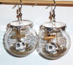 Ohrringe Totenkopf Modeschmuck Damen Hänger Edelstahl Ohrschmuck Glas Neuware
