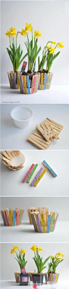 Cute way to make a basket Blumentopf aus Plastikschale und Wäscheklammern