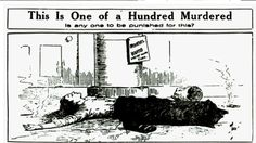 "This is another striking political cartoon by Thomas Dorgan of the New York Journal. His headline points to the idea that someone is responsible. However, the sign above the dead factory worker that says ""operators wanted"" could be interpreted as the company's need to immediately move on from the incident to hire new laborers and continue to make profit. This political message points not just to negligence, but to the sinister nature of capitalist factories."