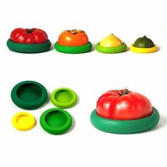 Amazon.com: Huayoung Pack of 8 Reusable Silicone Food Huggers Fruits and Vegetables Storage Containers-4 Sizes (8, Green): Kitchen & Dining