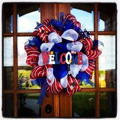 4th of July or Memorial Day Deco Mesh Wreath by All Meshed Up By Julie.
