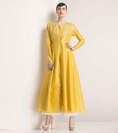 Yellow Embroidered Chanderi Anarkali Jacket