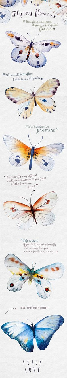 Watercolor butterfly DIY by Peace ART on @creativemarket