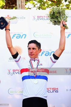 Pete Kennaugh of Team SKY stands on the podium after winning the 2015 British National Championship road race on June 28, 2015 in Lincoln, England.