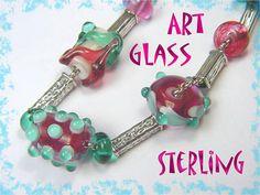 Summer Fun Art Glass Lampwork Rose & Aqua Sterling Silver Bead Necklace