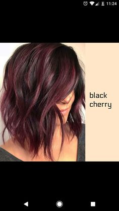 The long bob or lob is one of the most popular hair colors among women since last many years. We've compiled these amazing hair color ideas in this post for elegant and cute look. Wear these amazing bob hairstyles with various bob hair color highlights Hair Color And Cut, Ombre Hair Color, Cherry Hair Colors, Black Cherry Hair Color, Fall Hair Colors, Pelo Color Vino, Medium Hair Styles, Short Hair Styles, Hair Medium