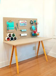 Make your clever kids their own craft studio with this creativity station. (Handmade Charlotte)+