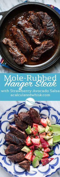 Mole-Spiced Hanger Steak with Strawberry-Avocado Salsa (Paleo, Gluten free)