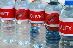AFL Football Birthday Party - Named Water Bottles