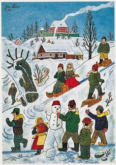 Advent, Folk Art, Christmas Cards, Sporty, Posters, Painting, Vintage Stamps, Winter, Christmas E Cards