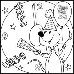 New Year Coloring Pages Happy For Kids