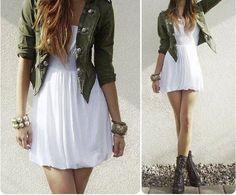 Green Cardigan + White Dress + Golden Bangles + Combat Boots Outfit. I would switch out the combat boots for cowgirl boots