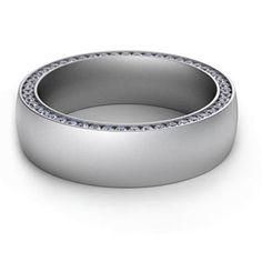 custom hidden diamond wedding band for him set in Platinum.