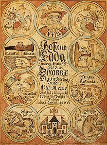 Deckblatt einer isländischen Abschrift der Snorra-Edda aus dem Jahr 1666. Als Edda werden zwei verschiedene, in altisländischer Sprache verfasste, literarische Werke bezeichnet. Beide wurden im 13. Jahrhundert im christianisierten Island niedergeschrieben und behandeln skandinavische Götter- und Heldensagen. Trotz dieser Gemeinsamkeiten sind sie unterschiedlichen Ursprungs und literarischen Charakters.