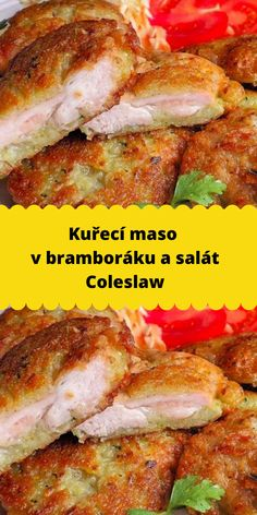Kuřecí maso v bramboráku a salát Coleslaw Poultry, French Toast, Food And Drink, Diet, Chicken, Cooking, Breakfast, Recipes, Eten