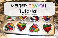 Pink and Green Mama: You Color My World Valentines: Melted Crayon Heart Valentines