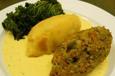 Vegan haggis, neeps and tatties with kale and a whisky cream sauce