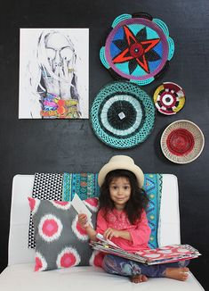 I have a little obsession with baskets- I love using them to stash all my art supplies, store toys and even hang them on the wall as dec. Recycled Crafts, Diy And Crafts, Alisa Burke, Painted Baskets, Empty Wall, Wall Art Decor, Paint Colors, Recycling, My Arts