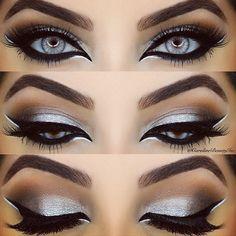 Stunning silver - silver eye make up Gorgeous Makeup, Pretty Makeup, Love Makeup, Makeup Inspo, Makeup Inspiration, Skin Makeup, Eyeshadow Makeup, Eyeshadows, Silver Eyeshadow