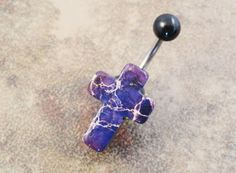 Purple Cross Belly Button Ring Jewelry Gold Cross on Etsy, $15.00