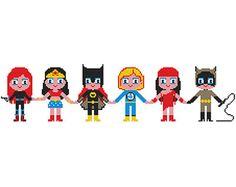 SUPER GIRLS Cross stitch Pattern PDF   Boy Girl di POWSTITCH