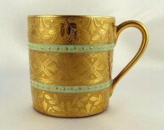 Antique Sevres French Porcelain Heavy Gilt Demitasse Cup & Saucer from theantiqueboutique on Ruby Lane