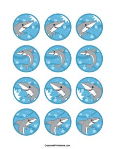 Shark cupcake toppers. Use the circles for cupcakes, party favor tags, and more. Free printable PDF download at http://cupcakeprintables.com/toppers/shark-cupcake-toppers/