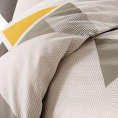 Housse de couette HILORA GRIS, imprimée, en coton. La Redoute Interieurs