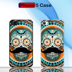 Sugar Skull Mustache Custom iPhone 5 Case Cover