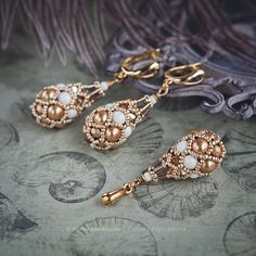 Earrings and Pendant «Ivory Gold Fabergé»