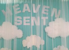 Absolutely loved the theme of this baby shower... heaven Sent! Here are some pictures of the dessert table.