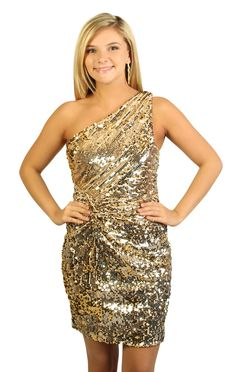 all over sequin one shoulder party dress $54.50