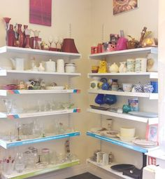 Lovely colour blocked display of bric-a-brac in our Mold shop
