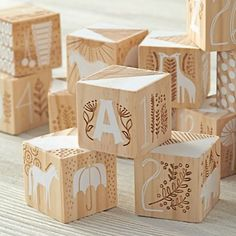 This Etched Wooden Blocks set includes all the letters of the alphabet and features etching and white painted images. They were designed by artist Elizabeth Olwen and make the perfect gift or keepsake. Wooden Baby Blocks, Wooden Baby Toys, Wood Toys, Wooden Toys For Kids, Modern Kids Toys, Diy For Kids, Crafts For Kids, Kids Wood, Montessori Toys