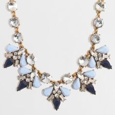 NWT J.Crew Statement Necklace NWT! Beautiful J. Crew Statement Necklace in Lovely blues and stunning sparkles. Stop by my closet for more great items to bundle! *Please submit respectable offers using the private offer feature and keep all comments classy.* Sorry...Trades. J. Crew Jewelry Necklaces