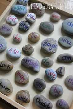 Sight word pebbles literacy game via The Imagination Tree HUNT! FOR STONES, clean them up. write on with sharpie Kindergarten Literacy, Early Literacy, Literacy Activities, Activities For Kids, Literacy Centers, Reading Activities, Educational Activities, Preschool Ideas, Word Games For Kids