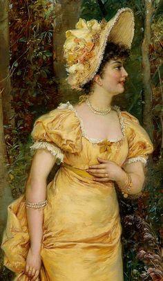 Risultati immagini per portrait lady yellow
