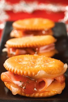 "Get your soiree started with RITZ Crackers Ham and Swiss Spicy ""Jamwiches."""