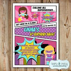 Superhero Girl Party Invitation / Girl Super by HeartsandCraftsy