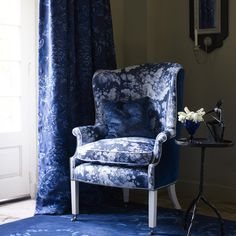 Marts Chair by William Yeoward. Be inspired by the magic of William Yeoward's designer furniture and luxury home accessories. Chair Upholstery, Wingback Chair, Armchair, Luxury Home Decor, Luxury Homes, Home Collections, Home Accessories, Furniture Design, Blue And White