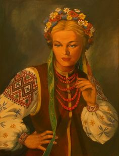 Paintings and Needlework created by my relatives. Russian Folk, Russian Art, European Costumes, Ukrainian Art, Ukrainian Dress, Folk Fashion, Paintings I Love, My Heritage, Face Art